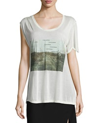 Haute Hippie I Lost Myself Asymmetric Graphic Tee Swan
