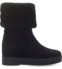 Salvatore Ferragamo Falcon Shearling Lined Suede Ankle Boots Black