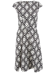 Closet Diamond Wide Pleat Dress Black White