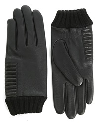 Agnelle Black Gloves With Buckskin Cuff And Alpaca Lining