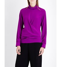 Victoria Beckham Turtleneck Silk Blouse Plum