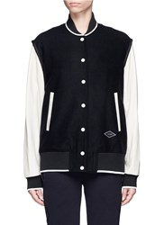 Rag And Bone 'Edith' Leather Sleeve Padded Felt Varsity Jacket Black