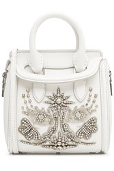 Alexander Mcqueen Leather Small Heroine Satchel With Embellishment White