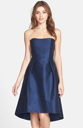 Women's Alfred Sung Strapless High Low Dupioni Dress Midnight