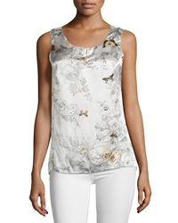 Paperwhite Floral Print Sleeveless Silk Blouse White Multi