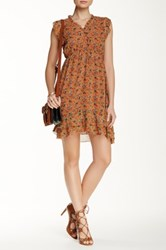Papillon Ruffle Trim Floral Dress Brown