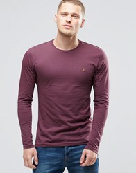 Farah Long Sleeve T Shirt With F Logo In Slim Fit In Bordeaux Bordeaux Red
