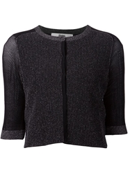 Prabal Gurung Ribbed Cropped Cardigan Black