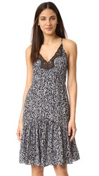 Rebecca Taylor Pop Flower Slip Dress Black Combo