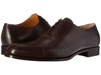 A. Testoni Lux Calf Oxford With Cap Toe Moka Men's Lace Up Cap Toe Shoes Brown