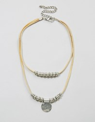 Asos Western Leather Cord Disc Choker Necklace Cream
