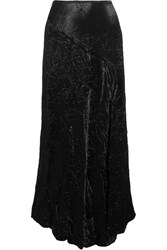 Joseph Louie Crinkled Satin Midi Skirt Black