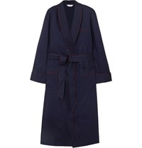 Derek Rose Nelson Cotton Robe Blue