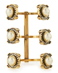 Alexander Mcqueen Crystal And Pearly Golden Military Bracelet