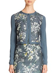 Lafayette 148 New York Wool Floral Cloque Shrug Cadet Multi