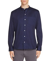 Uniform Band Collar Button Down Shirt Navy