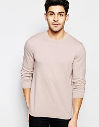 Asos Crew Neck Sweater In Pink Cotton Light Pink
