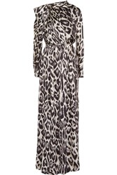 Lanvin Gathered Leopard Print Hammered Silk Gown Gray