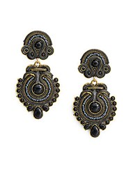 Natasha Woven Beaded Drop Earrings Black Gold