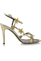 Red Valentino Star Embellished Metallic Leather Sandals