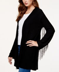 Material Girl Juniors' Fringe Trim Cardigan Sweater Only At Macy's Caviar Black
