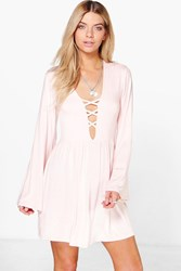 Boohoo Cross Front Flared Sleeve Skater Dress Nude