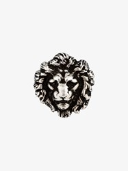 Saint Laurent Brass Lion Head Ring Silver