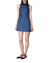Cynthia Rowley Embellished Shift Dress Navy