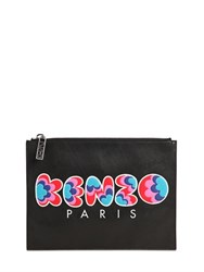 Kenzo Logo Printed Leather Pouch