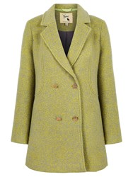 Yumi Double Breasted Fleck Coat Lime