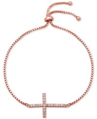 Giani Bernini Cubic Zirconia Cross Slider Bracelet In 18K Rose Gold Plated Sterling Silver Only At Macy's