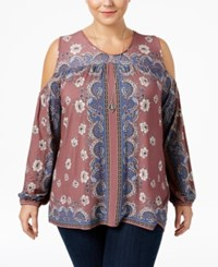 American Rag Trendy Plus Size Cold Shoulder Peasant Top Only At Macy's Zinfandel