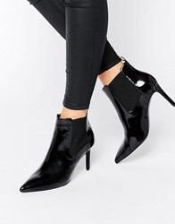 Office Angle Point Heeled Ankle Boots Black Patent Pu