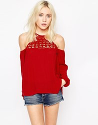 Influence Cheesecloth Cold Shoulder Top With Embroidered Detail Chilli Red