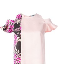 Msgm Floral Panel Cold Shoulder Top Pink And Purple