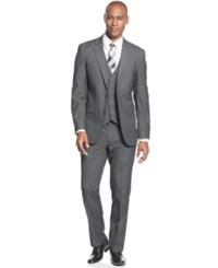 Unlisted By Kenneth Cole Mid Grey Neat Vested Slim Fit Suit