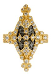 Freida Rothman 14K Gold Plated Sterling Silver Cz Maltese Marquise Ring Metallic