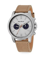 English Laundry Stainless Steel Leather Chronograph Watch Brown Silver