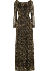 Alice By Temperley Donna Open Back Lame Rosette Appliqued Tulle Gown Metallic
