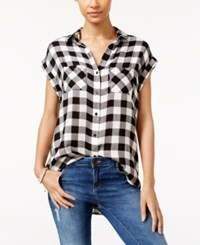 Polly And Esther Juniors' Plaid Cap Sleeve Shirt Black White