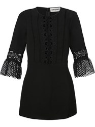 Self Portrait Bell Sleeve Shift Dress Black