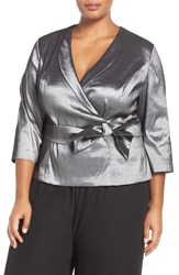 Alex Evenings Plus Size Women's Three Quarter Sleeve Taffeta Wrap Blouse Gunmetal