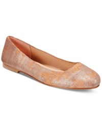 Marc Joseph New York French Sole Fs Ny Radar Metallic Cork Ballet Flats Women's Shoes Peach