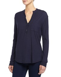 James Perse Long Sleeve Half Button Henley Shirt True Navy