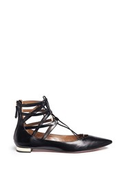 Aquazzura 'Belgravia' Caged Leather Flats Black