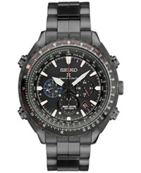 Seiko Men's Solar Chronograph Prospex Radio Sync Patriots Jet Team Limited Edition Black Stainless Steel Bracelet Watch 48Mm Ssg007