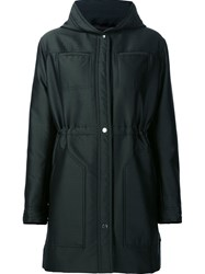 Carven Snap Fastening Hooded Coat Green