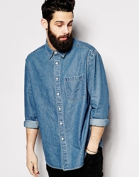 Asos Denim Shirt In Long Sleeve With Oversized Fit And Vintage Mid Wash Blue