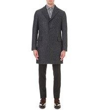 Boglioli Herringbone Boucle Wool Coat Navy