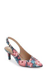 Women's Naturalizer 'Odellia' Slingback Pointy Toe Pump Navy Floral Fabric